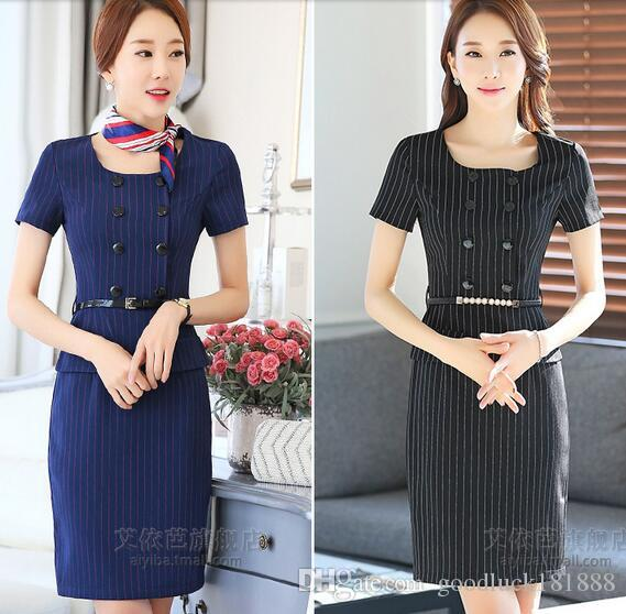 Summer New Business Attire Dress Short Sleeve Fashion Stripe Slim Temperament Middle Skirt Overalls Women Casual Dress Size S 3xl Cute Party Dresses Black Party Dress From Goodluck181888 38 03 Dhgate Com