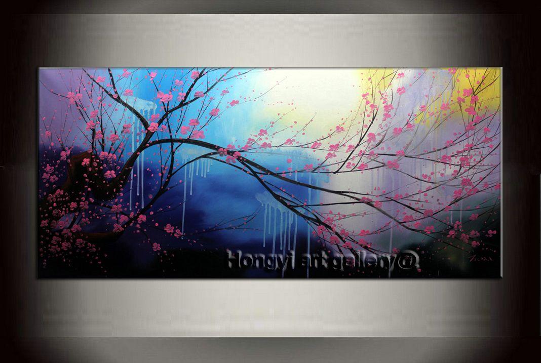 acheter grand paysage peinture contemporaine fleur de cerisier 100 fait main mur dart decor dart abstrait feng shui peinture a lhuile sur toile home