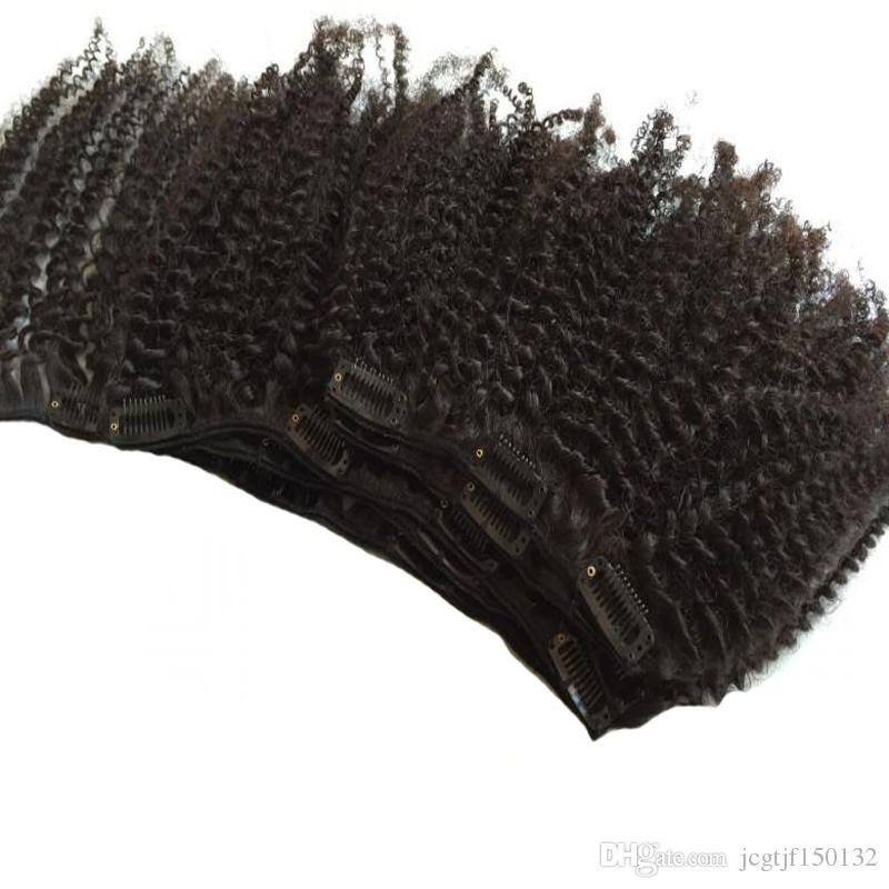 Natural Hair African American Clip In Human Hair Extensions 100g