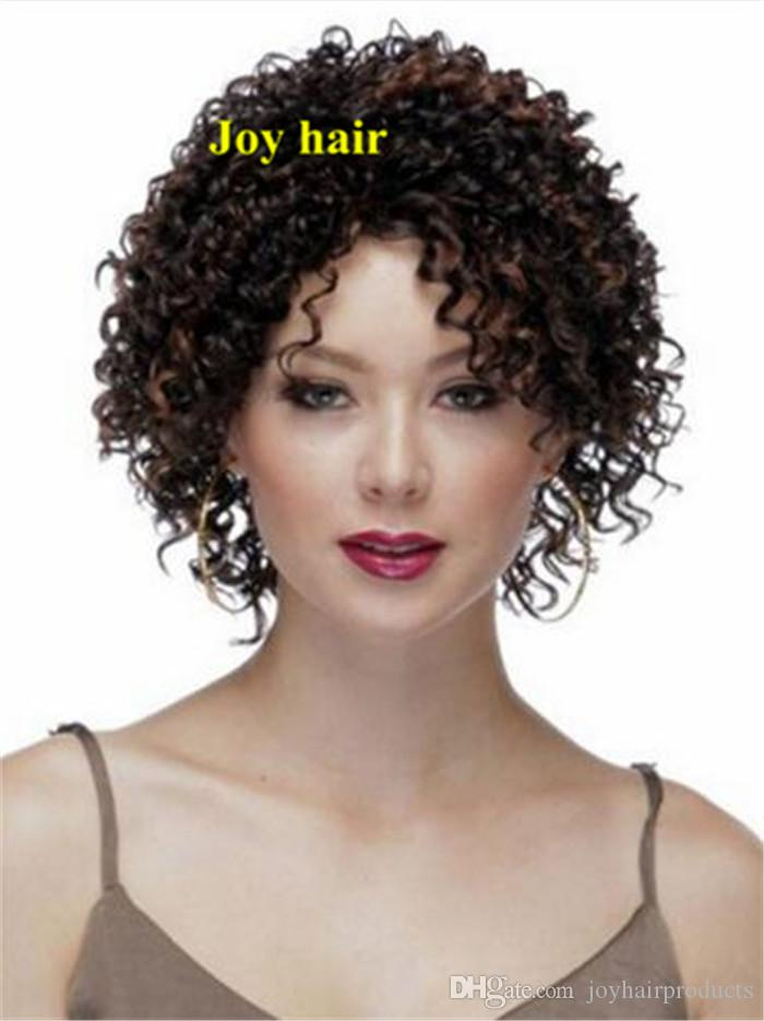 Cheap Afro Kinky Curly Wig Highlight Brown African American Short