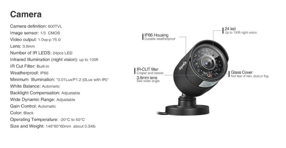 Cctv Wireless Camera Wifi SANNCE HD 4CH CCTV System 960H