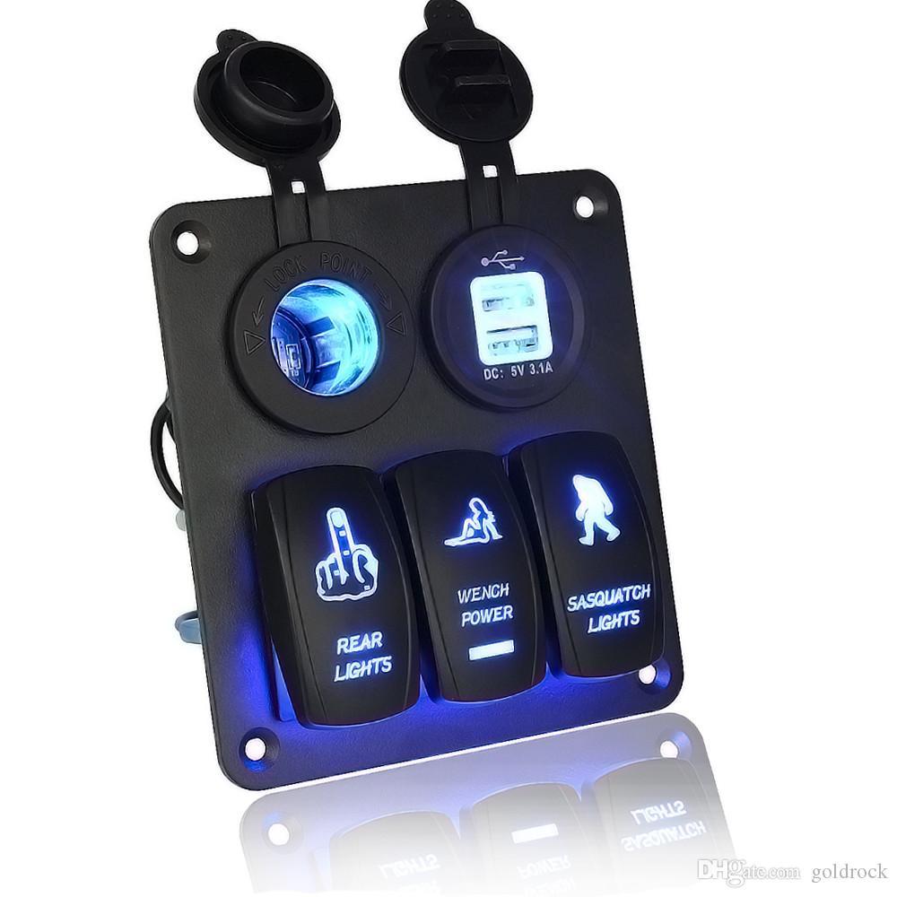 hight resolution of led rocker switch wiring 5 gang waterproof car auto boat marine led rocker switch panel circuit breakers