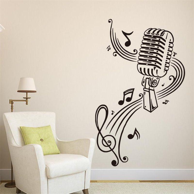 Essi hanno un'ottima resistenza nel tempo grazie ad un vinile opaco di alta qualità. 57x37cm Microphone With Music Notes Vinyl Wall Stickers Removable Art Mural For Home Decoration Kids Bedroom From Echo Home Decoration 5 32 Dhgate Com