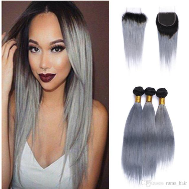 2019 two tone 1b grey brazilian virgin hair weave lace closure with bundles straight human hair extensions ombre silver gray hair with closure from