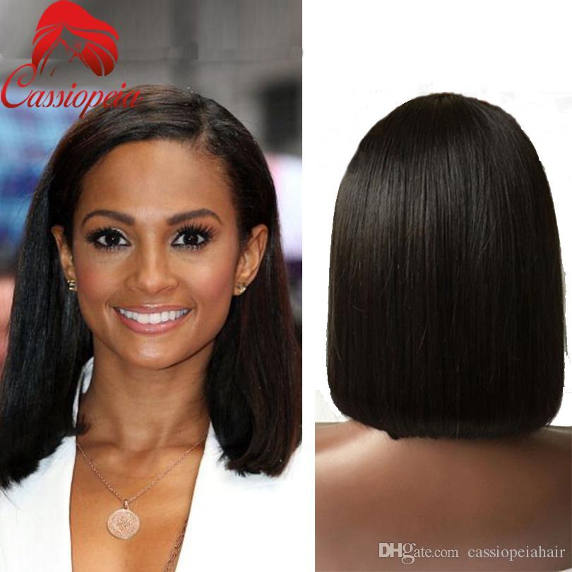 Glueless Medium Length Straight Full Lace Wigs Virgin Human Hair