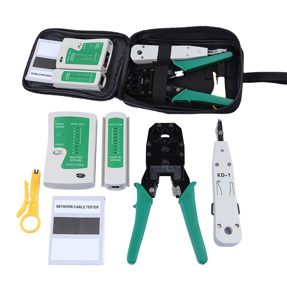 medium resolution of network ethernet cable tester rj45 kit rj45 crimper crimping tool punch down rj11 cat5 cat6 wire line detector