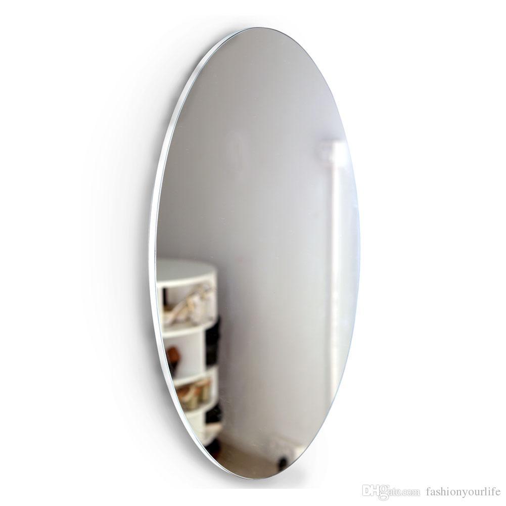 acheter grand miroir ovale biseaute de mur de cadre de conception classique miroir de salle de bains de maquillage de salle de bains miroir cosmetique