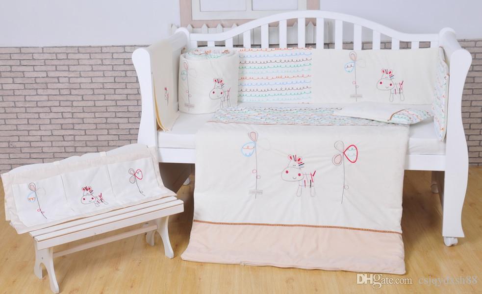 100 cotton baby bedding set white crib