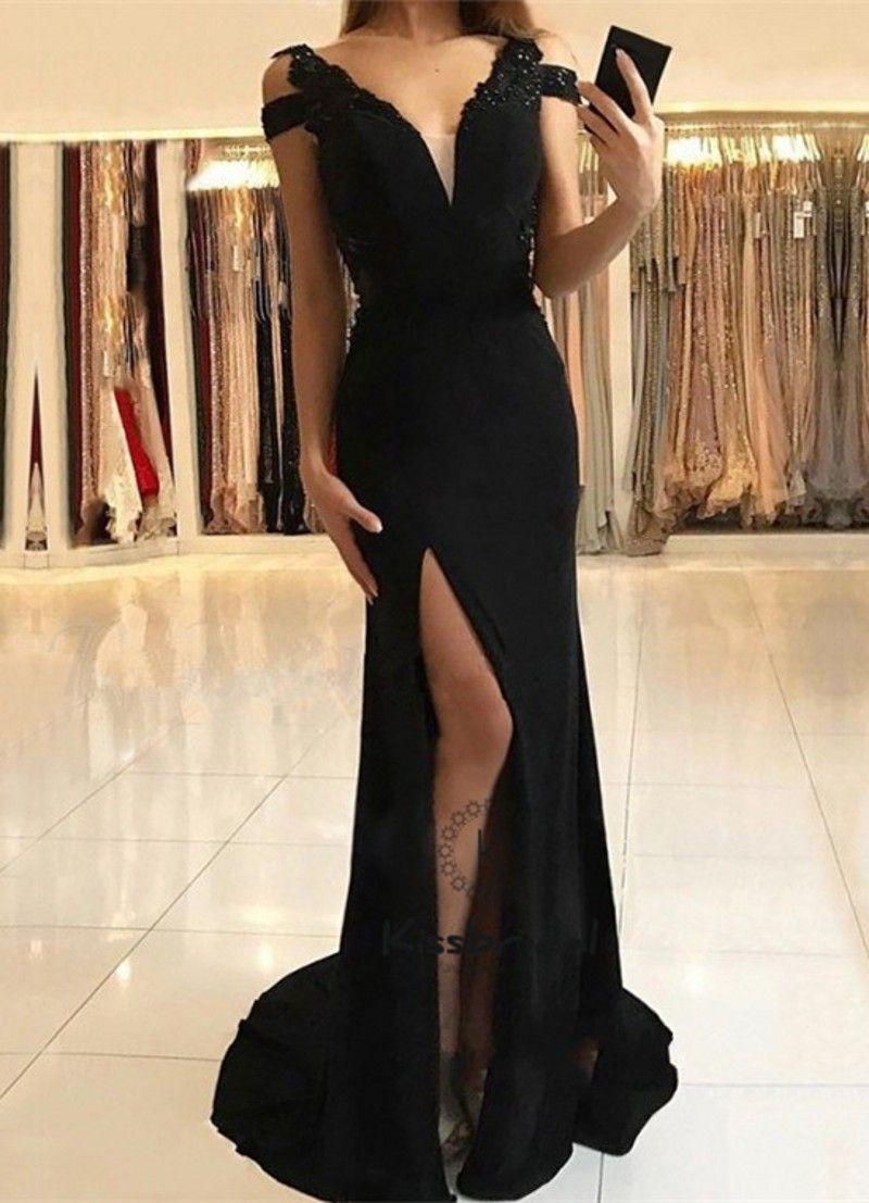 Preto Longo Vestidos De Noite 2018 Festa Desgaste Vestido De Baile Com  Decote Em V Sexy