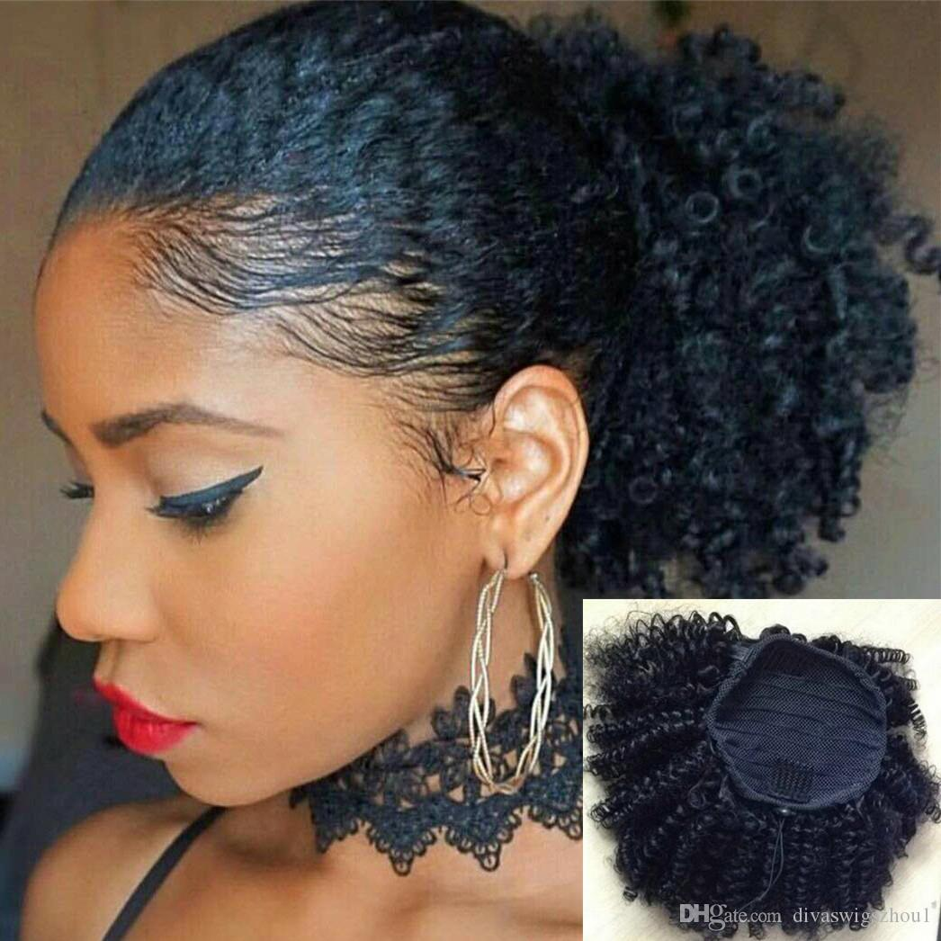 Tight Afro Kinky Curly Ponytails Extensions Mongolian Clip In
