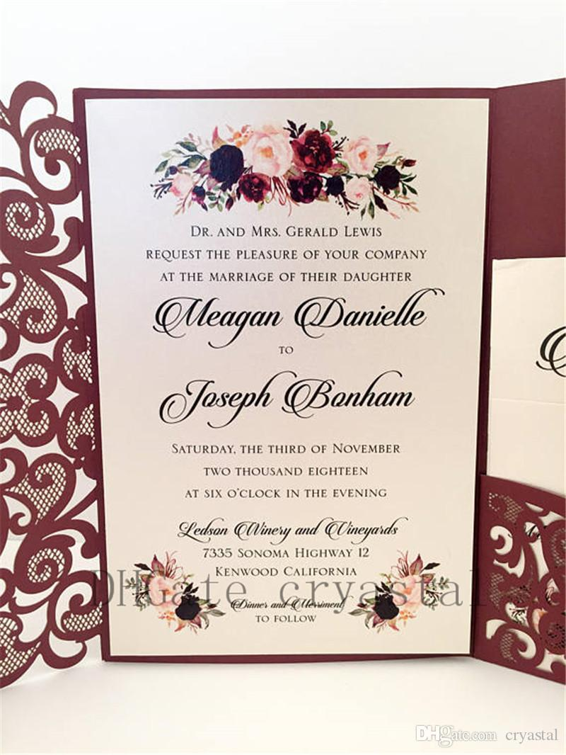 acheter invitations de mariage elegantes de mariage de poche de bourgogne de bourgogne de 1 45 du cryastal fr dhgate com