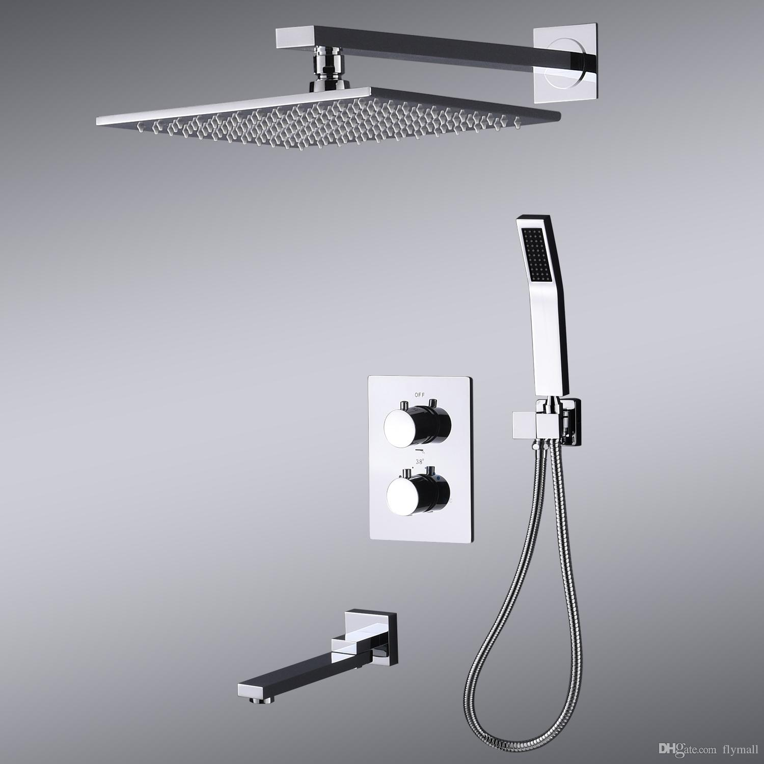 2019 10inch Wall Mounted Shower Faucet Bathroom Rainfall Shower System Set Thermostatic Faucets Tub Handheld Sprayer Fold Mixer Tap From Flymall