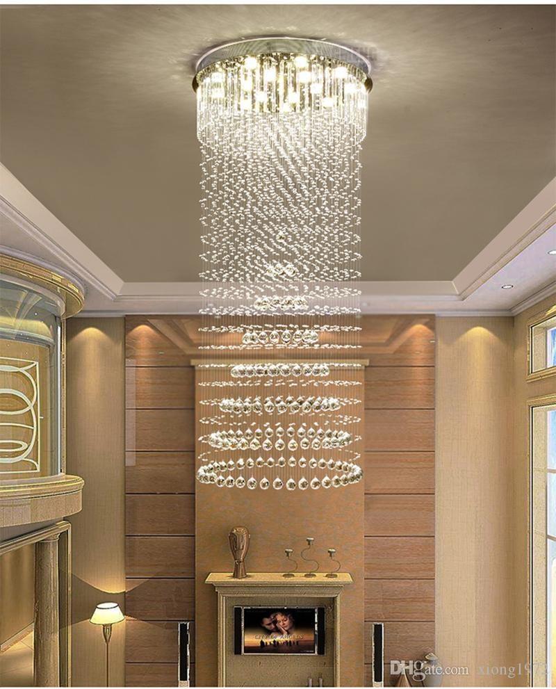 2020 Villa Stair Chandelier Double Chandelier Led 3 Brightness K9   Stainless Steel Spiral Staircase   Custom Iron   Wooden   Indoor   Bronze   Top