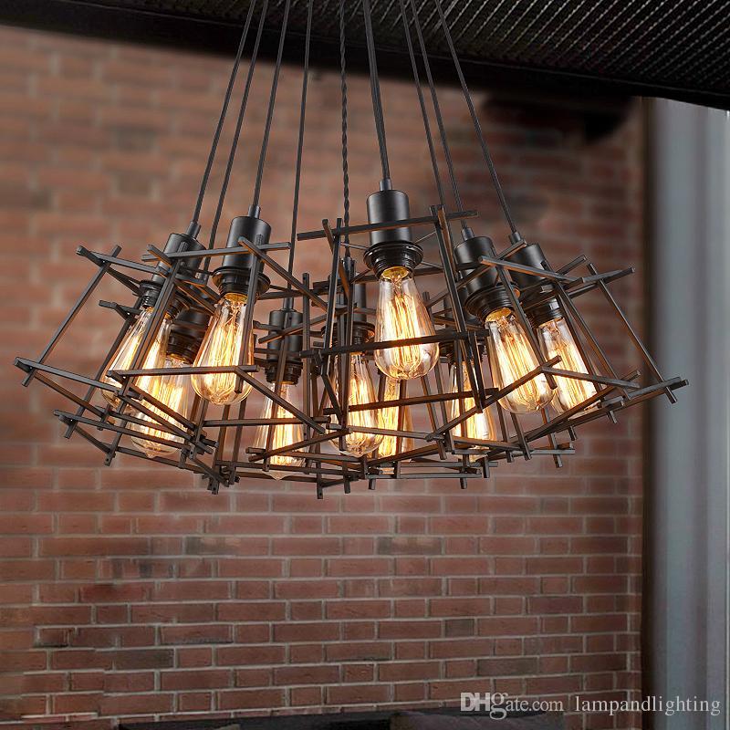 acheter luminaires industriels retro pendentif en fer forge en metal noir ampoule american vintage e27 luminaire cage nordique pour les bars dinning