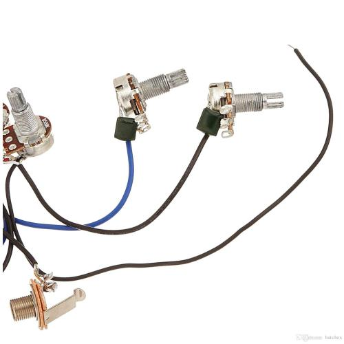 small resolution of wiring harness prewired 2v2t 3way toggle switch jack 500k pots for replacement guitar 1 set