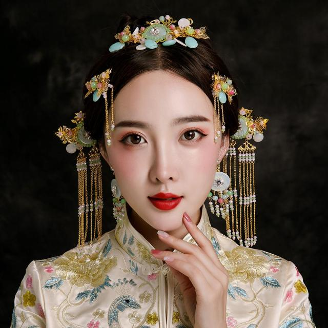 chinese wedding show wo hair accessories bridal tassel hairpins ethnic costume performance headwear step shakes headdress gifts wedding jewellery sets