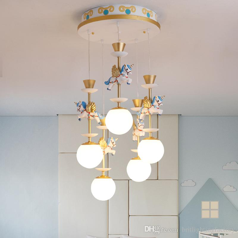 acheter salle a manger nordique cartoon pegasus lampe suspendue chambre denfant bebe chambre pendentif lampe maternelle aire de jeux cartoon led