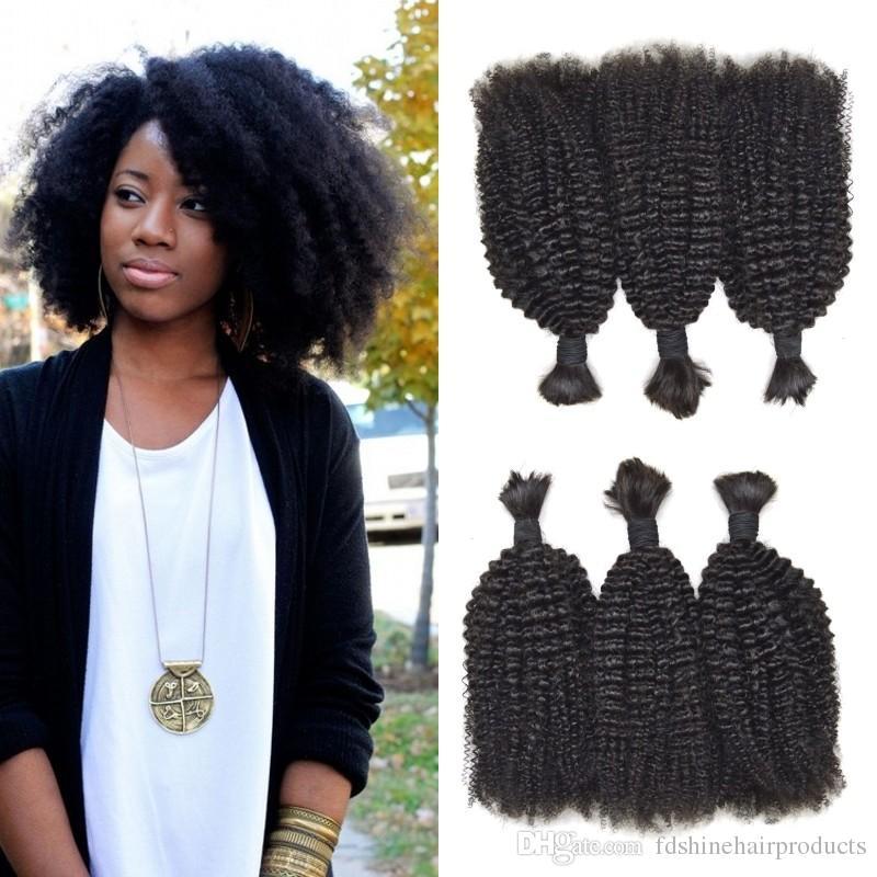 Hot Style Afro Kinky Curly Bulk Human Braiding Hair Indian Natural
