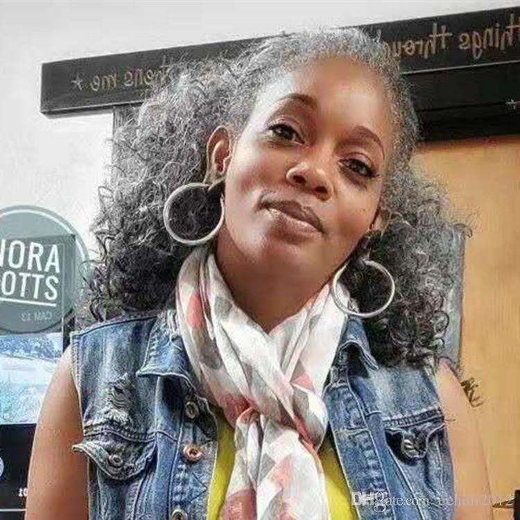 African American Silver Grey Hair Afro Puff Kinky Curly Ponytails