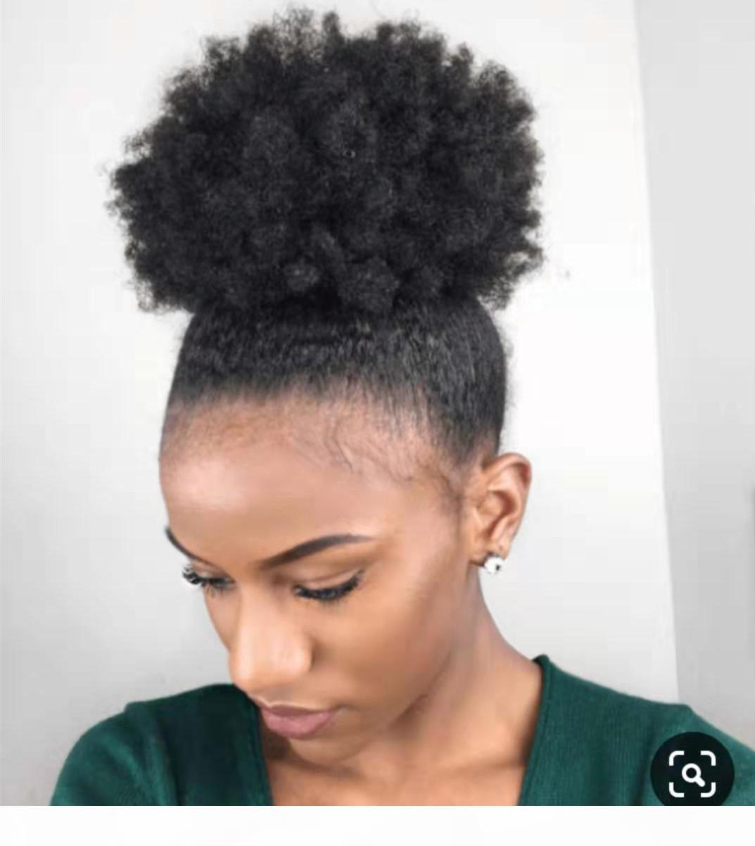 100 Human Natural Ponytail Extension African American Short Afro