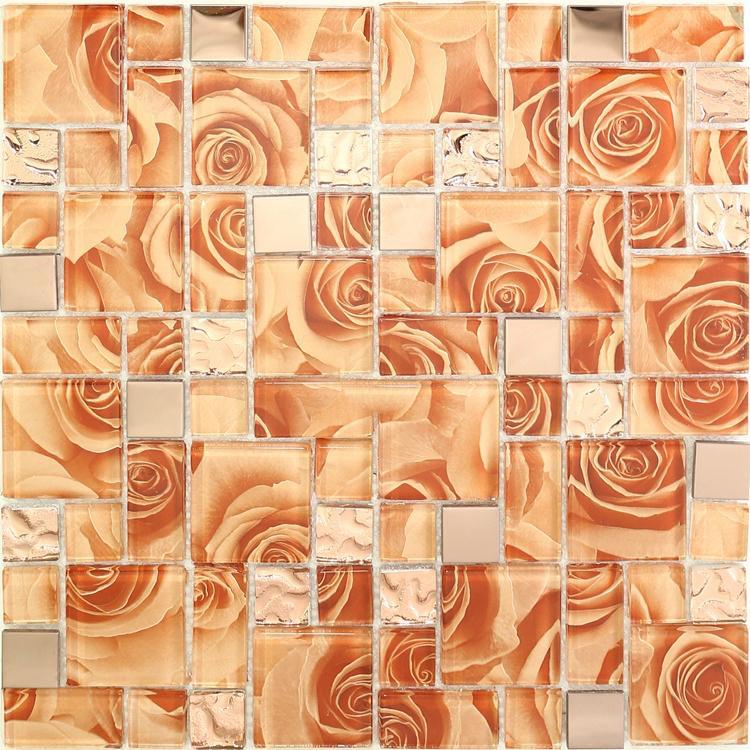 2021 orange rose glass mosaic kitchen