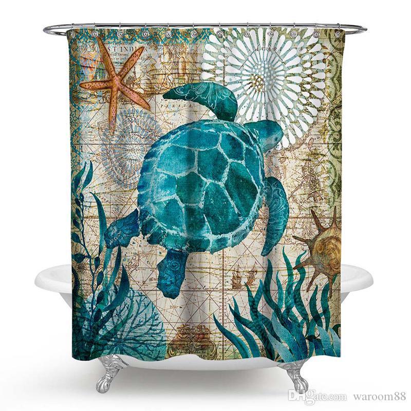 acheter turtle rideau de douche rideaux de bain impermeables avec 12 crochets rideau en tissu de polyester pour salle de bain decor resistant a la