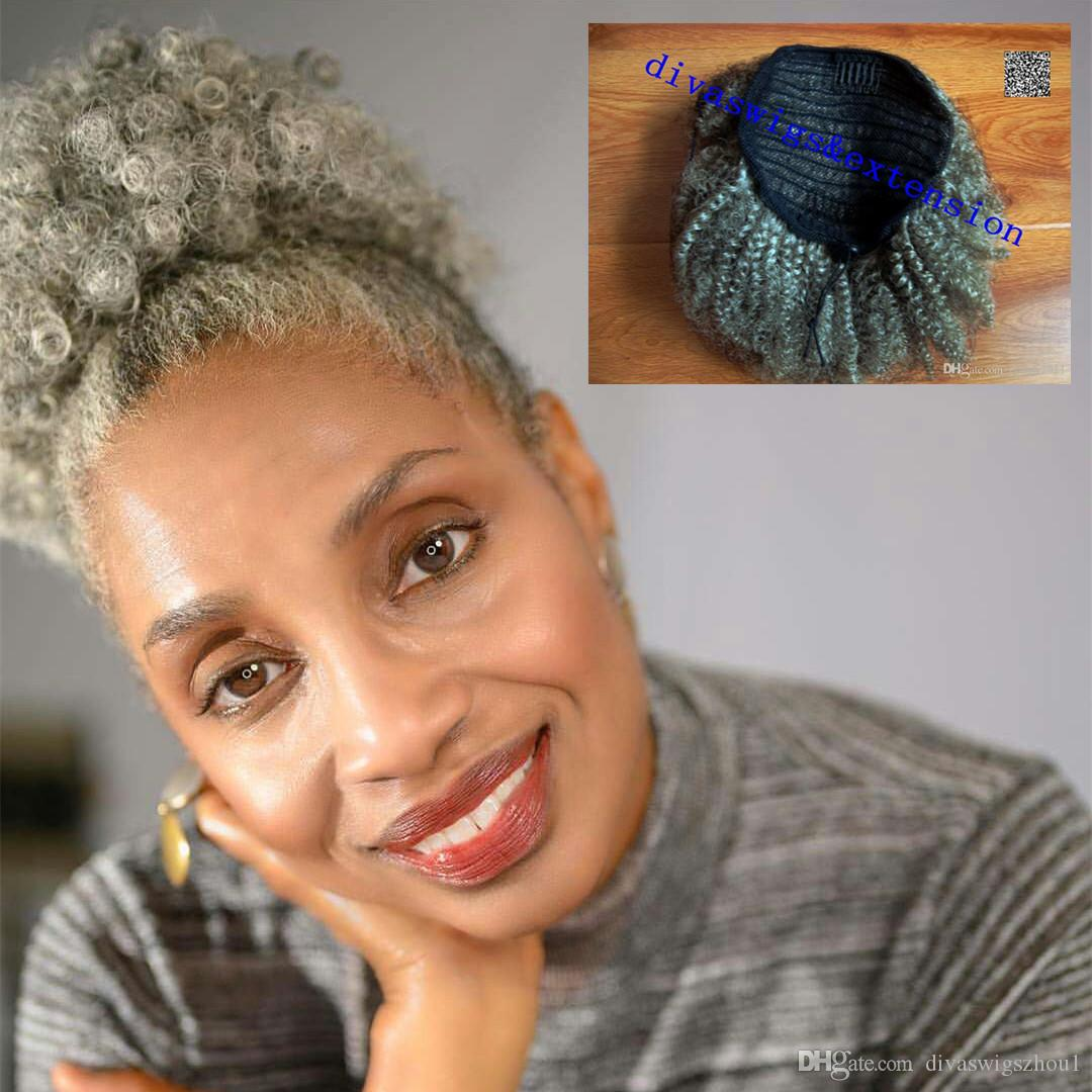 100 Natural Real Hair Grey Hair Weave Ponytail Afro Kinky Curly