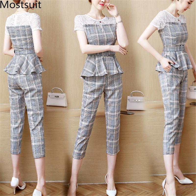 2020 2019 Summer Office Plaid Two Piece Sets Outfits Women Plus Size Lace Patchwork Tops With Belt And Cropped Pants Elegant Suits From Redbud01 27 45 Dhgate Com