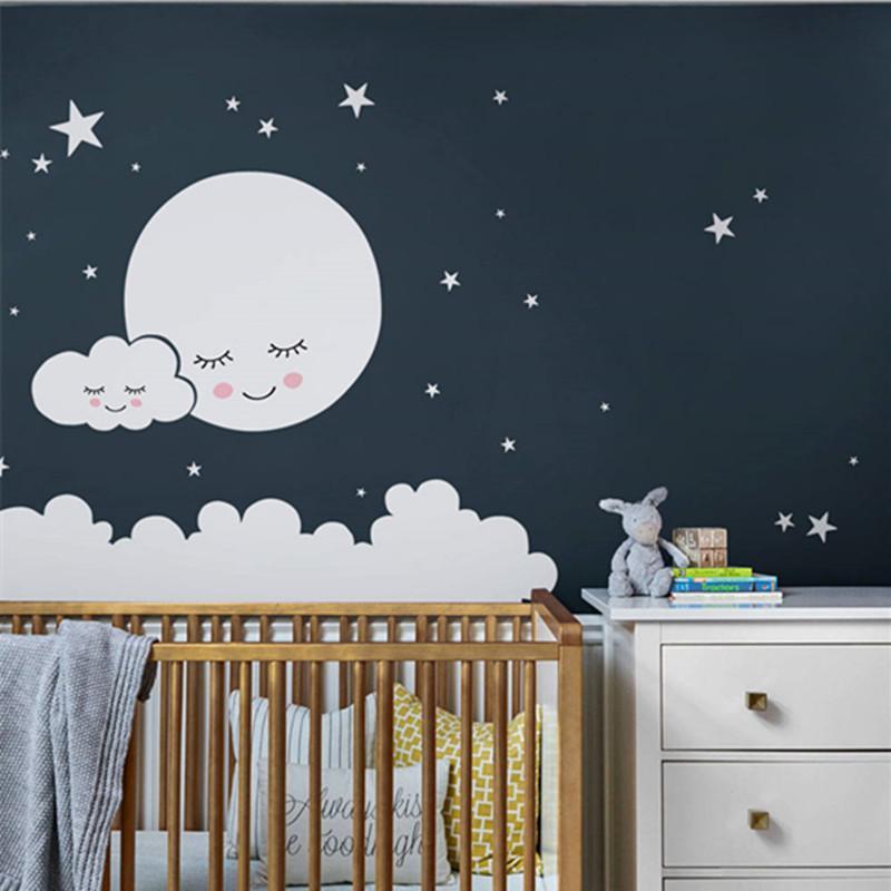 acheter lune sticker mural nuage stickers muraux pepiniere pour enfants chambre sticker mural etoiles sticker mural filles decoratif vinyle bebes