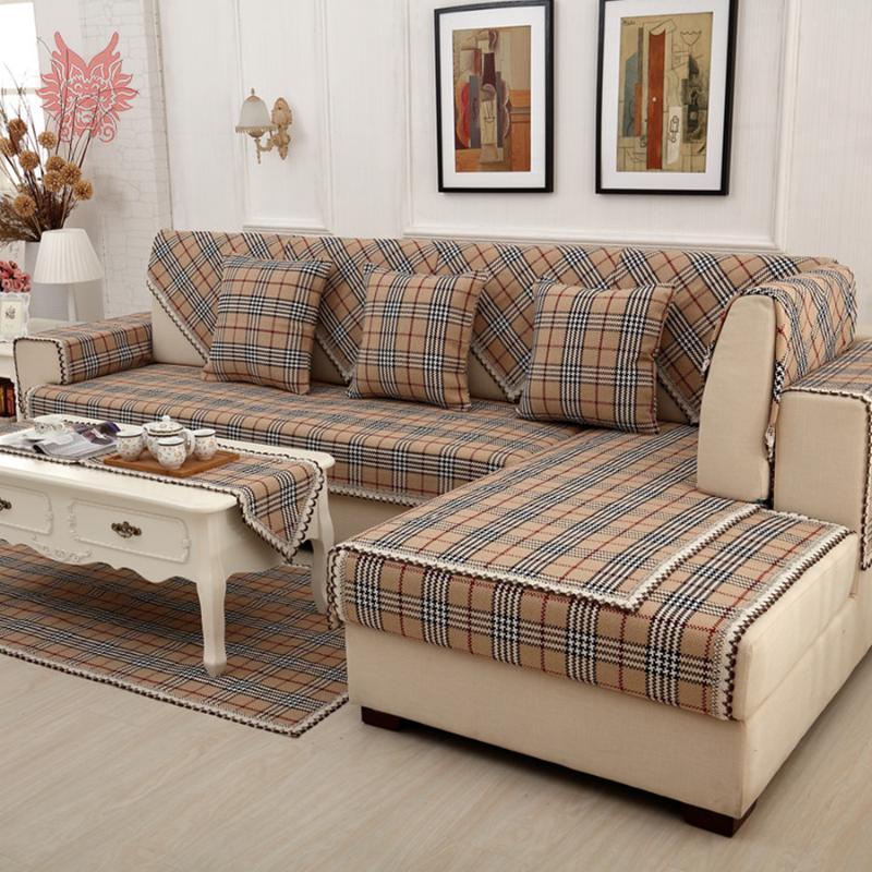 british brown plaid sofa cover cotton