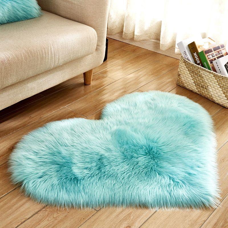 acheter tapis poil long bleu blanc rose tapis shaggy amour coeur forme tapis de fourrure laine artificielle peau de mouton chambre de bebe chambre