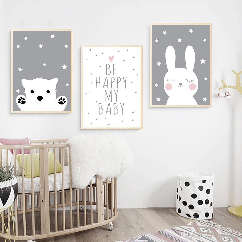 2020 S Cute Rabbit Bear Quote Posters And Prints Bedroom Kids Decoration Baby Nursery Wall Canvas Decor Painting Gifts Unframed From Maggiequan 11 3 Dhgate Com