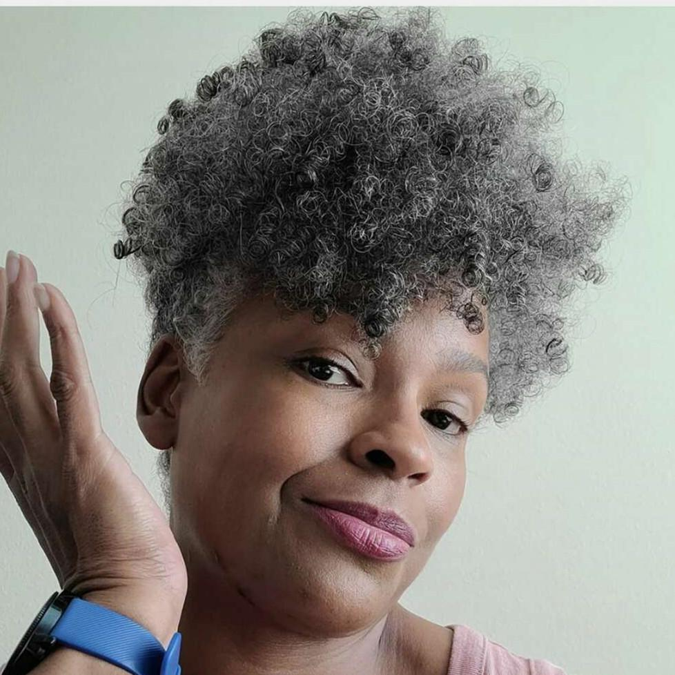 Hot Sale Short Afro Puff Ponytail Grey Hair African American Wrap