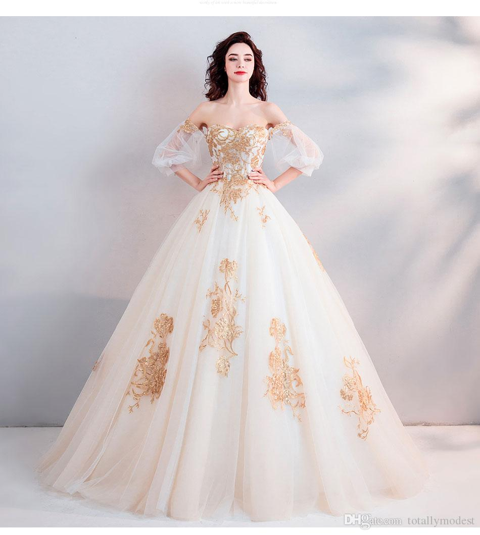 2019 New Gold Lace Ball Gown Wedding Dress Short Sleeves Off The Shoulder Dubai Arabic Women Princess Non White Bridal Gowns Cheap Discount ...