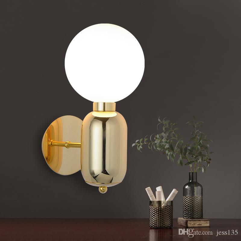 Modern Glass Wall Light Designer Glass Ball Led Wall Lamp Wall Mounted Lighting Fixture For Bedside Living Room Hallway Vintage Light Fixtures Hanging Ceiling Lights From Jess135 89 45 Dhgate Com