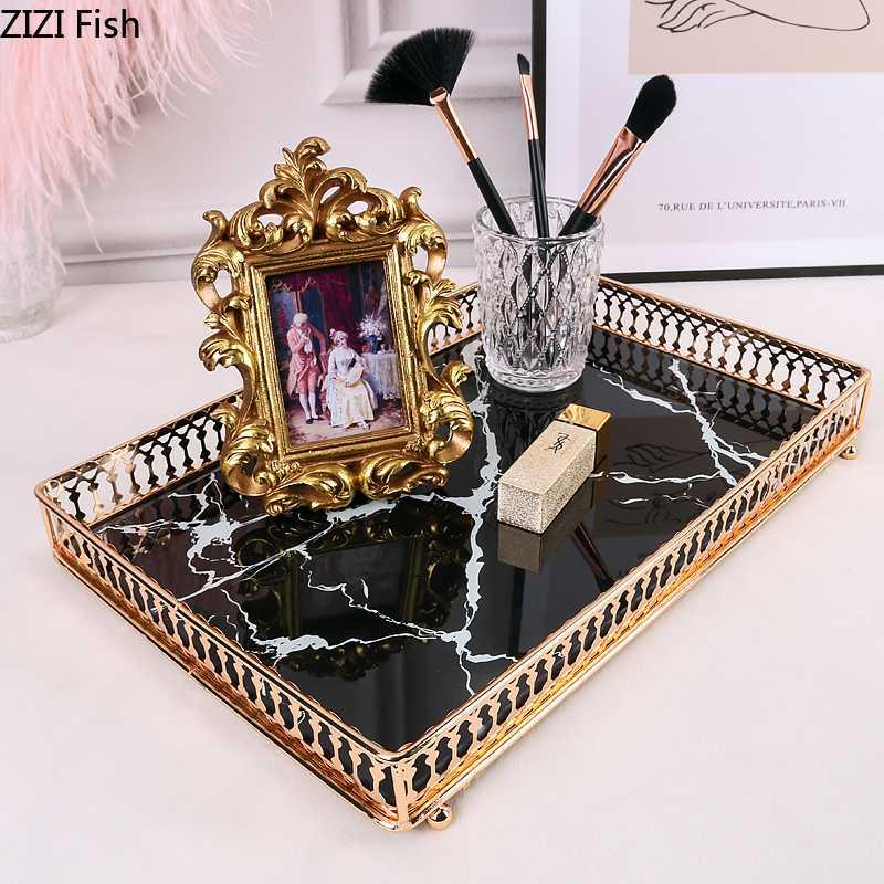 2020 Square Trays Decorative Marble Agate Texture Tempered Glass Mirror Skincare Storage Jewelry Plate Coffee Table Bathroom Tray From Cansou 42 12 Dhgate Com