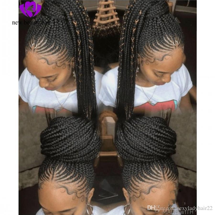Natural Handtied Cornrow Braids Wig Black Hairstyle Box Braids