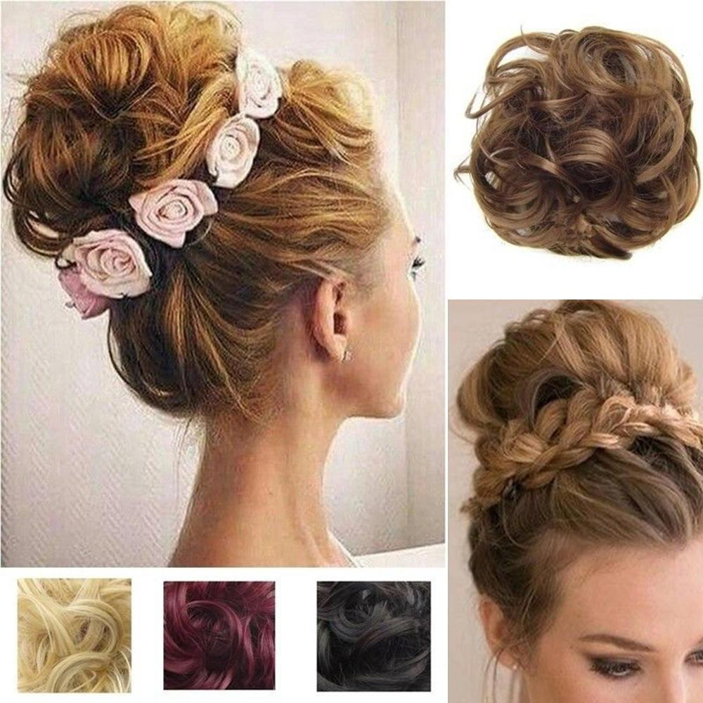 Heat Resistant Synthetic Hair Elastic Chignon Hairpiece Curly Bun