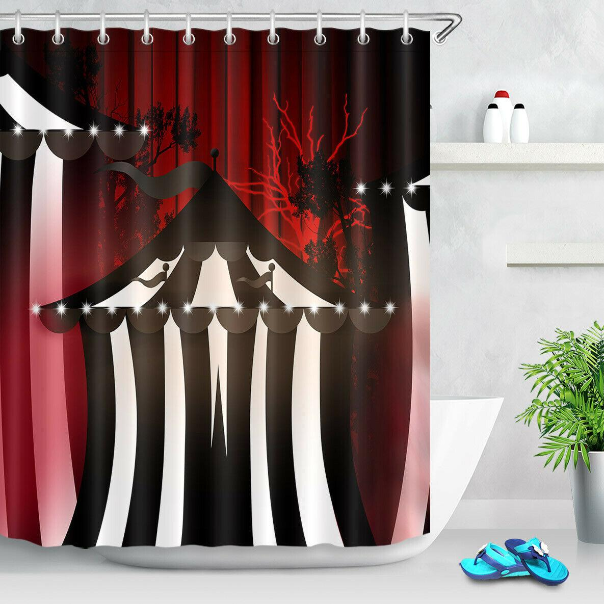 2019 Halloween Black White Striped Tent Bathroom Shower Curtain Durable Fabric Mold Proof Bathroom Pendant Creative With 12 Hooks 180x180cm From