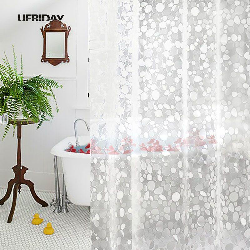 acheter ufriday pvc 3d impermeable rideau de douche transparent blanc clair rideau salle de bain avec des crochets baignoire nouveau de 17 4 du