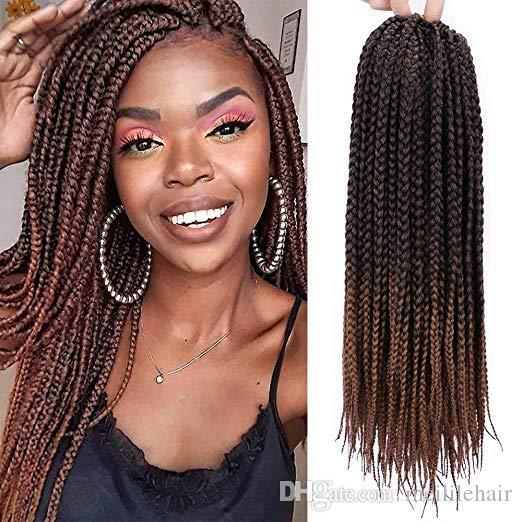 2020 18 Inch Straight Box Braids Crochet Hair Extensions