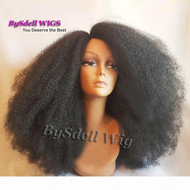 Beauty Afro Frizzy Kinky Curly Hair Lace Front Wig Long Synthetic