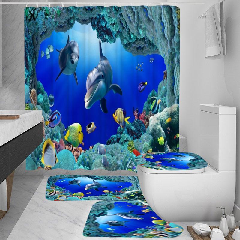 ocean dolphin polyester shower curtain