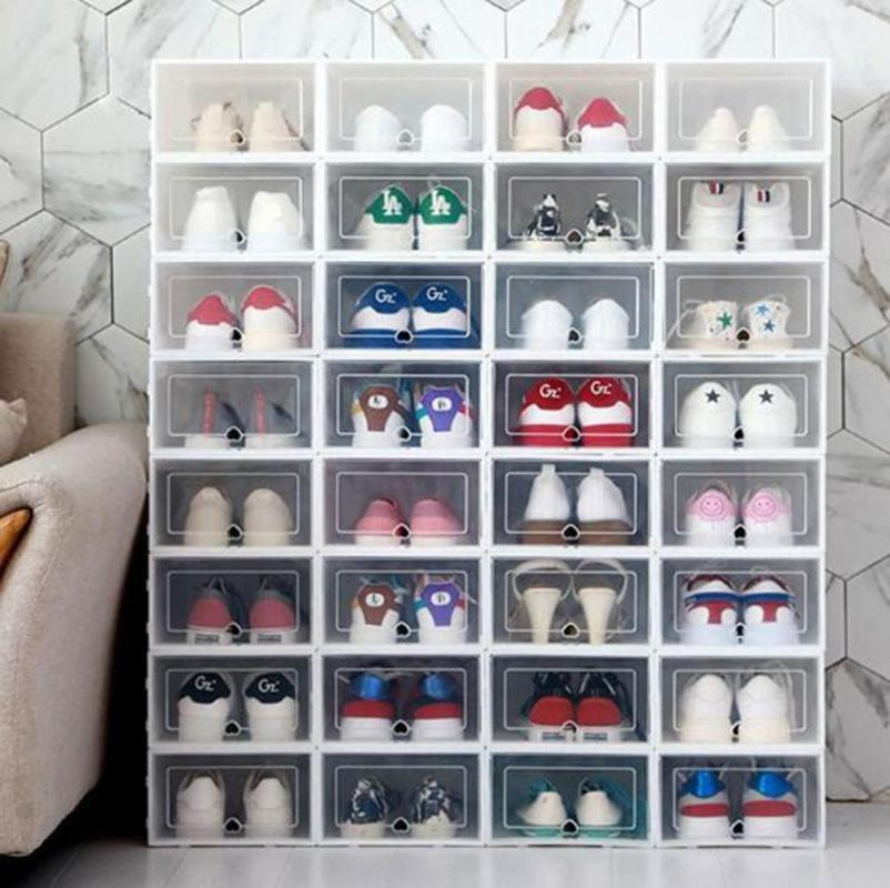 2020 Foldable Clear Shoes Storage Box Plastic Stackable Shoe Organizer Stackable Box Storage Shoe Transparent Drawer Case From Industrial 35 46 Dhgate Com