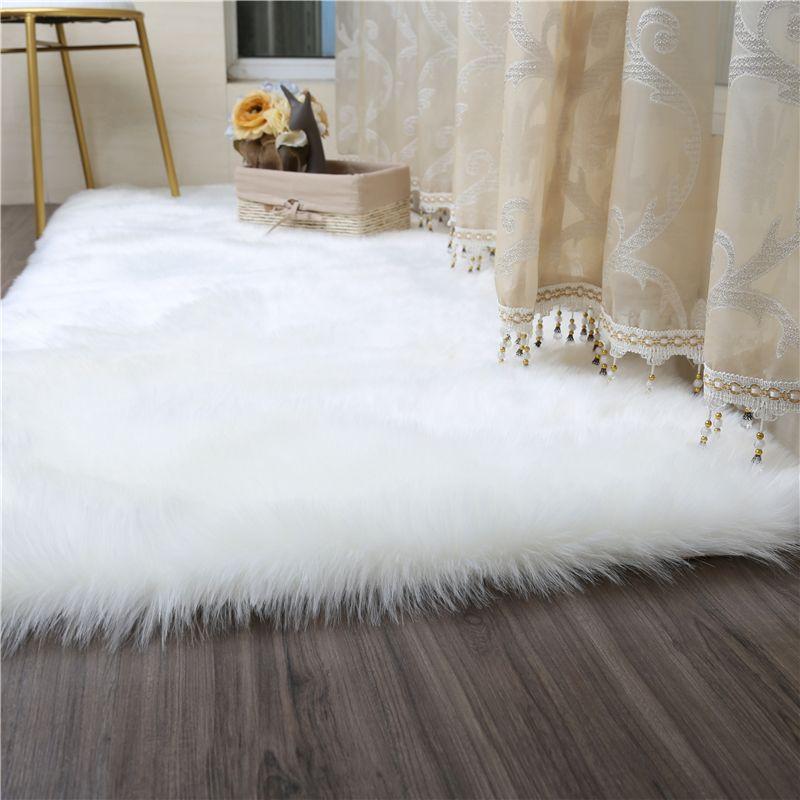 acheter tapis blanc en fausse fourrure tapis moelleux en peau de mouton pour le salon chambre tapis de taille grande carpettes shaggy fur en peluche a