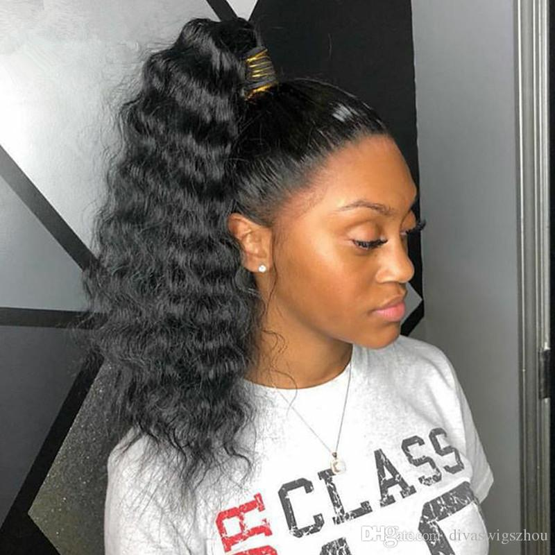 8a Afro Loose Curly Ponytail Human Hair Extensions Natural Black