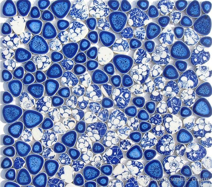 acheter bleu blanc galet porcelaine mosaique cuisine carrelage mural dosseret salle de bains carrelage en porcelaine forme de coeur mosaique de 12 61
