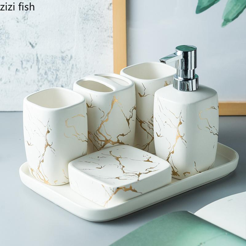 2020 Marble Frosted Gold Ceramics Bathroom Accessories Set Soap Dispenser Toothbrush Holder Tumbler Soap Dish Tray Bathroom Supplies From Hariold 30 96 Dhgate Com