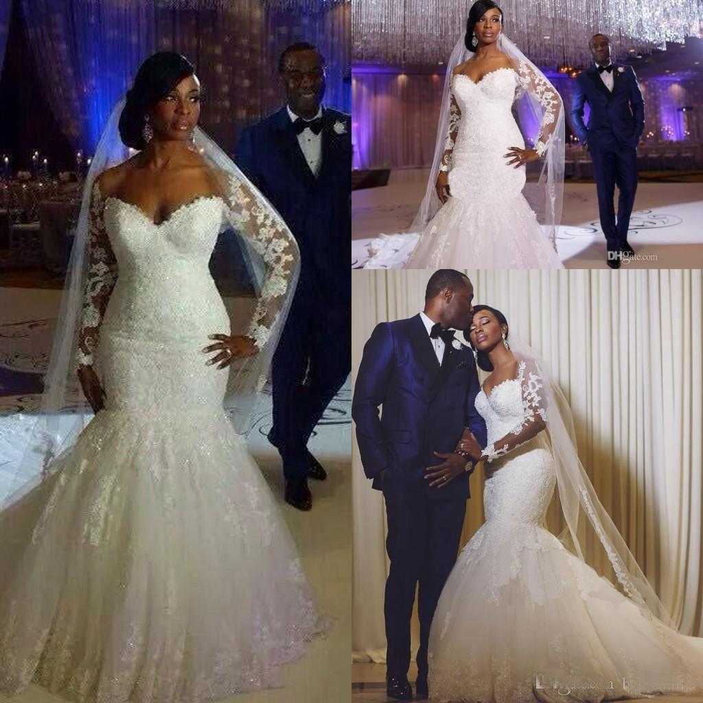 South Africa Long Sleeves Lace Mermaid Wedding Dresses
