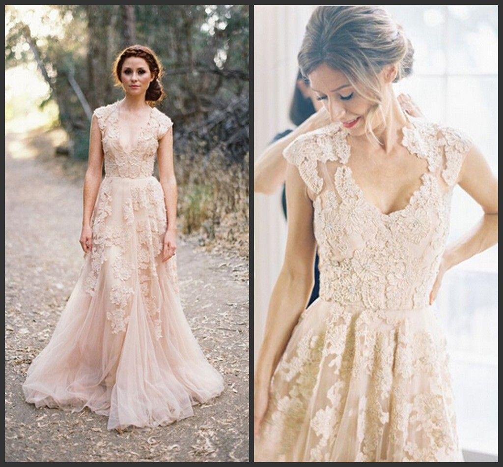 Discount Bohemia Plus Size Lace Wedding Dresses Sexy Deep